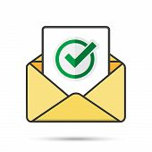 Email With Document And Round Green Check Mark Icon. Successful Verification Concepts. Vector Email  poster