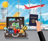 International Airport Concept. Summer Holiday, Tourism And Vacation Items. Bag Photo Camera Compass, poster