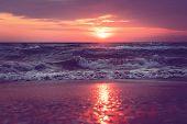 A Beautiful Sunrise On Sanibel Island Florida. Bright Intense Pink Purple Orange Sunrise At The Sea. poster