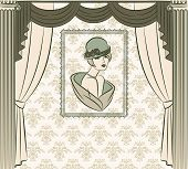 Vintage portrait in the interior of a living room with curtains