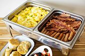 Breakfast Buffet With Scrambled Eggs, Sausage And Bacon poster