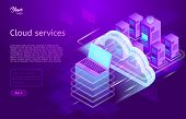 Isometric Cloud Computing Services Concept. Vector Illustration Showing The Laptop And Web Servers.  poster