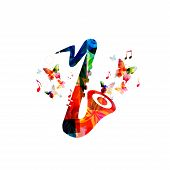 Music Colorful Background With Saxophone. Music Festival Poster. Sax Isolated Vector Illustration. M poster