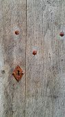 Vintage Wooden Door With Rusty Keyhole And Rivets, Troyes, France poster
