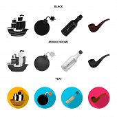 Pirate, Bandit, Ship, Sail .pirates Set Collection Icons In Black, Flat, Monochrome Style Vector Sym poster