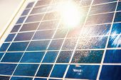 Solar Elements Closeup With Sunbeam On Surface. Structure, Background, Pattern. poster