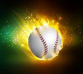 Dirty Baseball Speeding Through The Air On Fire Vector poster