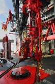 stock photo of oil rig  - rig floor equipment installed on drill ship - JPG