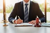 Lawyer Concept, Legal Professions With Legal Devices  Gavel And Lawyer Brand On Desk In Office. poster