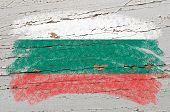 Flag Of Bulgaria On Grunge Wooden Texture Painted With Chalk
