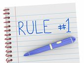 Rule Number 1 Notepad Pen One Follow Top To Do 3d Illustration poster