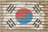 Flag Of South Korea On Grunge Brick Wall Painted With Chalk