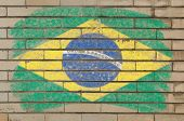 Flag Of Brazil On Grunge Brick Wall Painted With Chalk