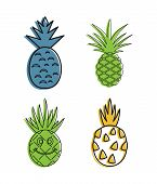 Ananas Icon Set. Color Outline Set Of Ananas Vector Icons For Web Design Isolated On White Backgroun poster