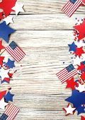 American Independence Day, Celebration, Patriotism And Holidays - Flags And Stars On The 4th Of July poster