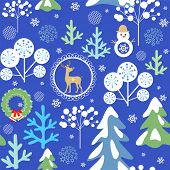 Seamless winter background with funny childish pattern with reindeer, Christmas wreath, snowman and  poster