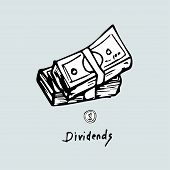 Dividends,  Hand-drawn Concept On A Blue Background. poster