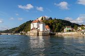 View At Danube Shore With Entry Of River Ilz Into Danube In Passau During A Ship Excursion In Autumn poster