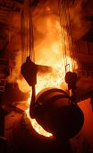 Hot Steel Production At The Steel Plant, Metallurgy Concept. Stock Footage. Hot Shop With Flowing Mo poster