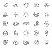 Ecology Outline Vector Icons Isolated On White Background. Ecology Outline Flat Icons For Web And Ui poster