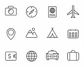 Travel And Tourism Outline Icon Set. Travel And Tourism Vector Icons Isolated On White Background. F poster