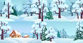 Cartoon Winter Forest Landscapes. Village In Woods With Snow Caps On Houses, Snowed Field And Winter poster