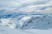 Beautiful and serene landscape of mountains covered with snow in Mölltaler Gletscher, Austria. Thick poster