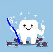 Happy Tooth Icon. Cute Tooth Characters. To Brush Your Teeth With Toothpaste. Dental Personage Vecto poster