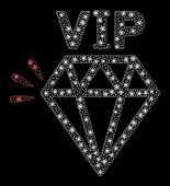 Glossy Mesh Vip Brand With Glitter Effect. Abstract Illuminated Model Of Vip Brand Icon. Shiny Wire  poster