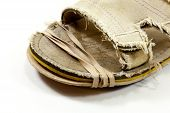 Sole Of Shoe With A Temporary Repair - Rubber Band Holding Together Sole Of Shoe poster