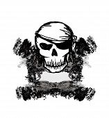 Skull Pirate - retro grunge card , vector illustration