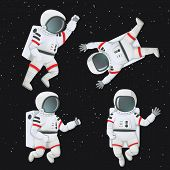Set Of Astronauts Floating In Space In Different Poses. Waving, Giving Thumbs Up, Raising Fist And F poster