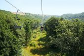 foto of ropeway  - Ropeway in mountain city Jermuk Armenia - JPG