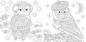Coloring Page. Coloring Book. Colouring Pictures Set With Owls In Cute Winter Hats. Line Art Sketch  poster