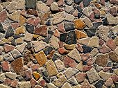 Beautiful Surface Of Multicolored Natural Stones. Mosaic Pattern Of Yellow, Beige, Red, Black, Gray, poster