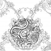 Roses And Snake. Seamless Pattern, Background. Graphic Drawing, Engraving Style. Vector Illustration poster