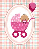 Baby, Girl, Africa, Greeting Card, Pink Checkered Background, Vector. A Little Girl In A Pink Stroll poster