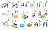 Sustainable Development, Economy And Society Sustainability, Social Responsibility, Vector Isometric poster