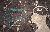 Melatonin Hormone Chemical Molecular Formula. Circadian Rhythm Synchronization. Stylized Conventiona poster