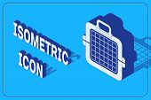 Isometric Pet Carry Case Icon Isolated On Blue Background. Carrier For Animals, Dog And Cat. Contain poster
