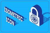 Isometric Safe Combination Lock Wheel Icon Isolated On Blue Background. Combination Padlock. Securit poster