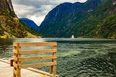 Mountains Landscape And Ferry Boat On Fjord Sognefjord In Gudvangen Norway Scandinavia. Tourism Vaca poster