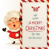 Mrs.claus With Big Signboard. Merry Christmas Calligraphy Lettering Design. Creative Typography For  poster