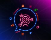 Target Line Icon. Neon Laser Lights. Marketing Targeting Strategy Symbol. Aim With Arrows Sign. Glow poster