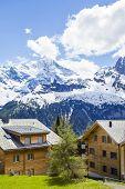 Alpine Village. Village Murren In The Swiss Alps. Swiss Village In The Mountains poster