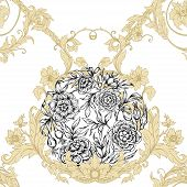 Roses Seamless Pattern, Background. Graphic Drawing, Engraving Style. Vector Illustration. In Art No poster