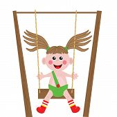 A  girl playing swing