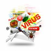 stock photo of virus scan  - A internet email is open with various computer virus icons around it - JPG