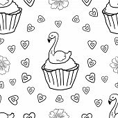 Easter Cupcake Flamingo With For Children And Adults. Seamless Pattern. Coloring Page Adult And Kids poster