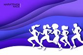 White Origami Young Lady Running. Happy Fitness Woman In Paper Cut Style. Woman Runner In Silhouette poster